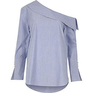 Blue stripe one shoulder split cuff top