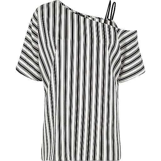 Black stripe print one cold shoulder top