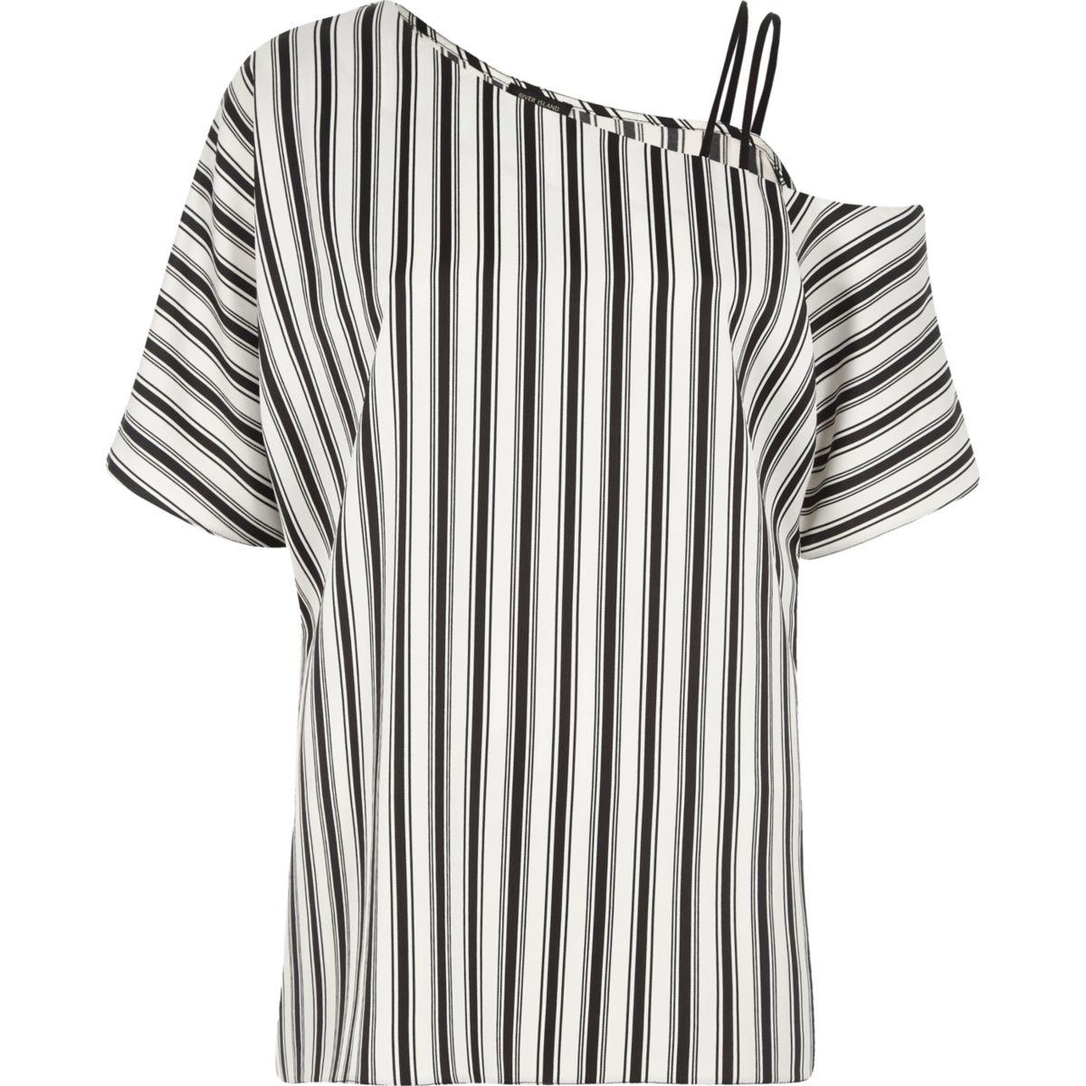 Black stripe print one cold shoulder top