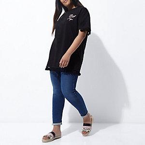 T-shirt Plus noir avec imprimé « road trip » à franges