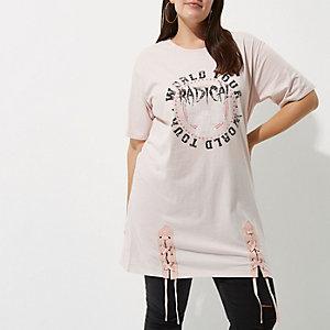 Plus light pink 'radical' lace-up hem T-shirt