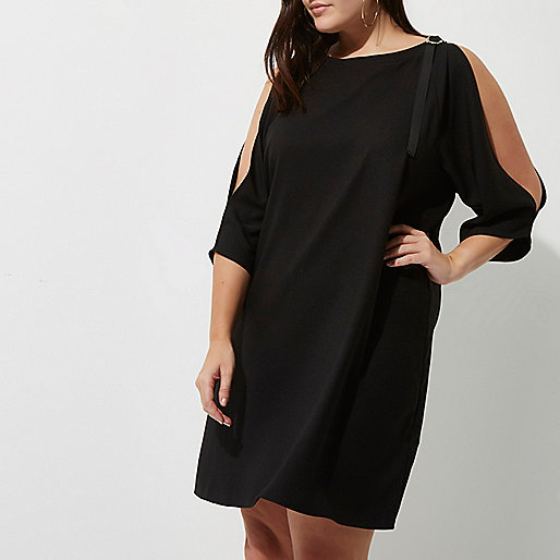 Plus black D-ring cold shoulder dress