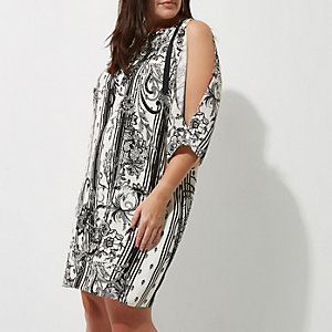 Plus white floral print D-ring dress