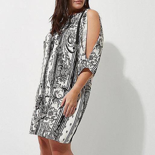 Plus white floral print D-ring dress