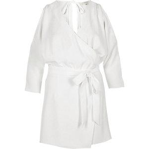 White cold shoulder wrap skort playsuit