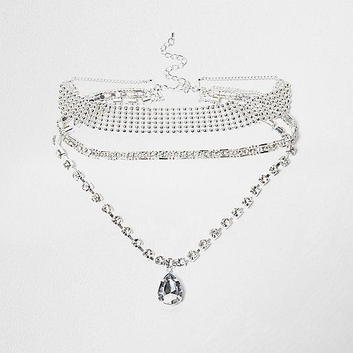 Silver tone diamante statement choker