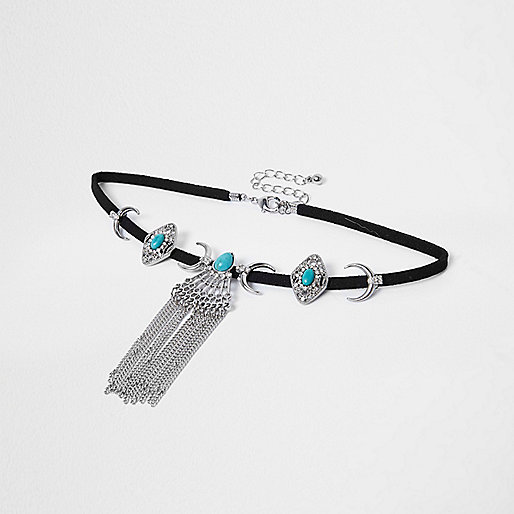 Silver tone moon and turquoise stone choker