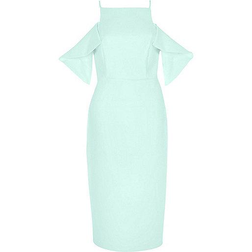 Light green cold shoulder bodycon dress