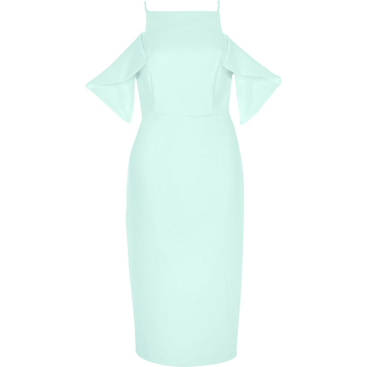Light green cold shoulder bodycon dress