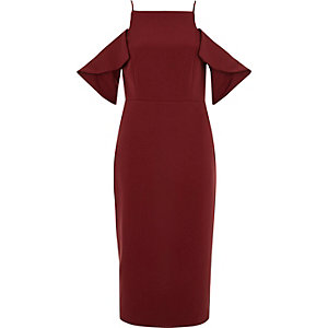 Dark red cold shoulder midi bodycon dress