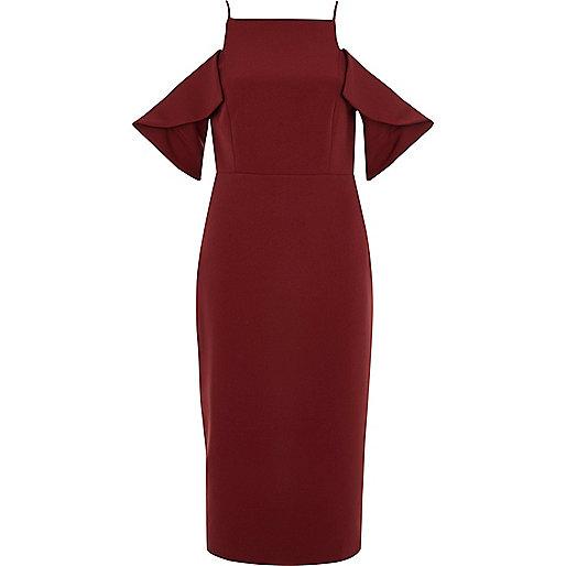 Dark red cold shoulder midi bodycon dress