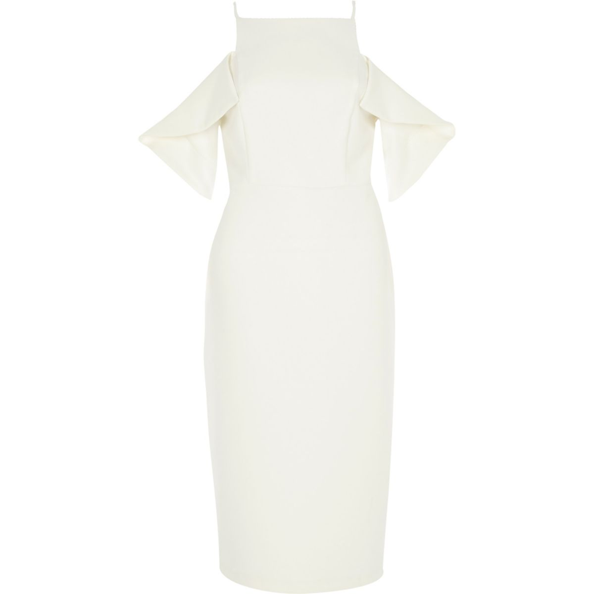 White cold shoulder bodycon dress