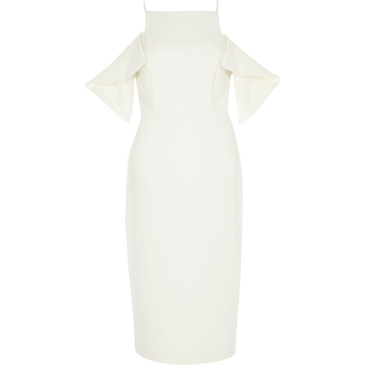 White cold shoulder bodycon dress