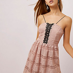 Light pink lace midi cami dress