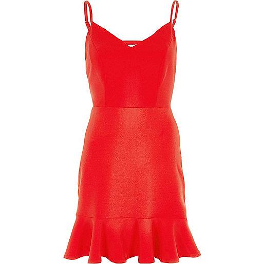 Red strappy pepum frill hem bodycon dress