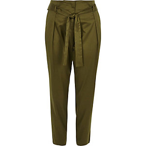Khaki green tie waist tapered trousers