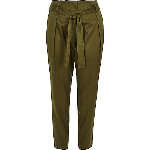 Khaki green tie waist tapered pants