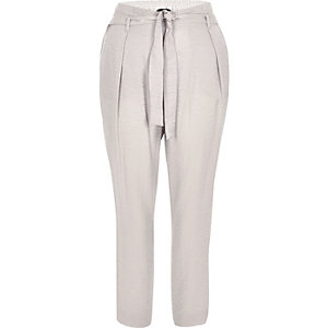 Grey tie waist tapered trousers