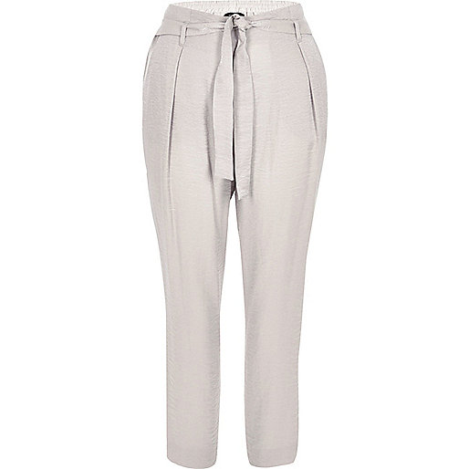 Grey tie waist tapered pants