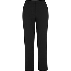 Black cropped cigarette pants