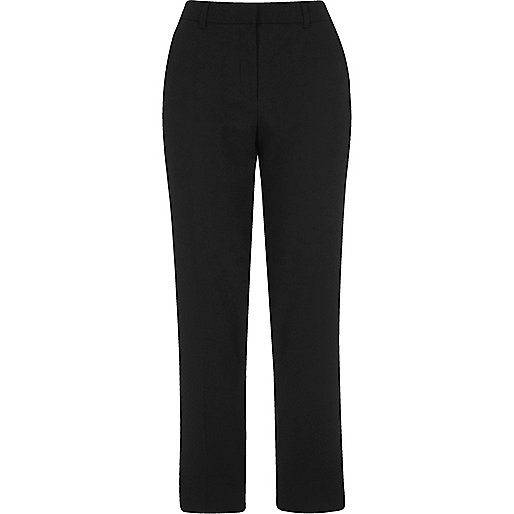 Black cropped cigarette trousers
