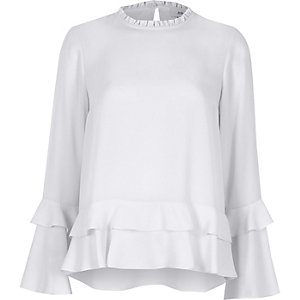 Blue double frill long sleeve top