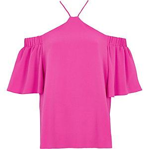 Pinkes, schulterfreies Top mit überkreuztem Ausschnitt