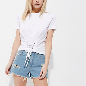 Petite – T-shirt court blanc façon corset