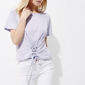 Petite – T-shirt court violet clair façon corset
