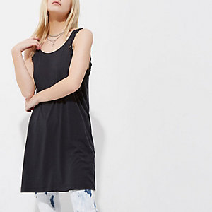 Petite black plaited longline tank top