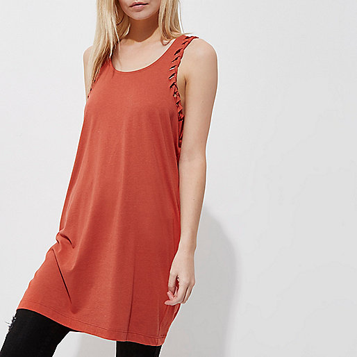 Petite rust orange plaited longline tank top