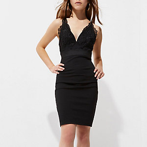 Petite black lace cami bodycon dress