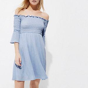 Petite light blue shirred bardot midi dress
