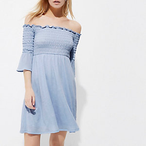 Petite light blue shirred bardot midi dress