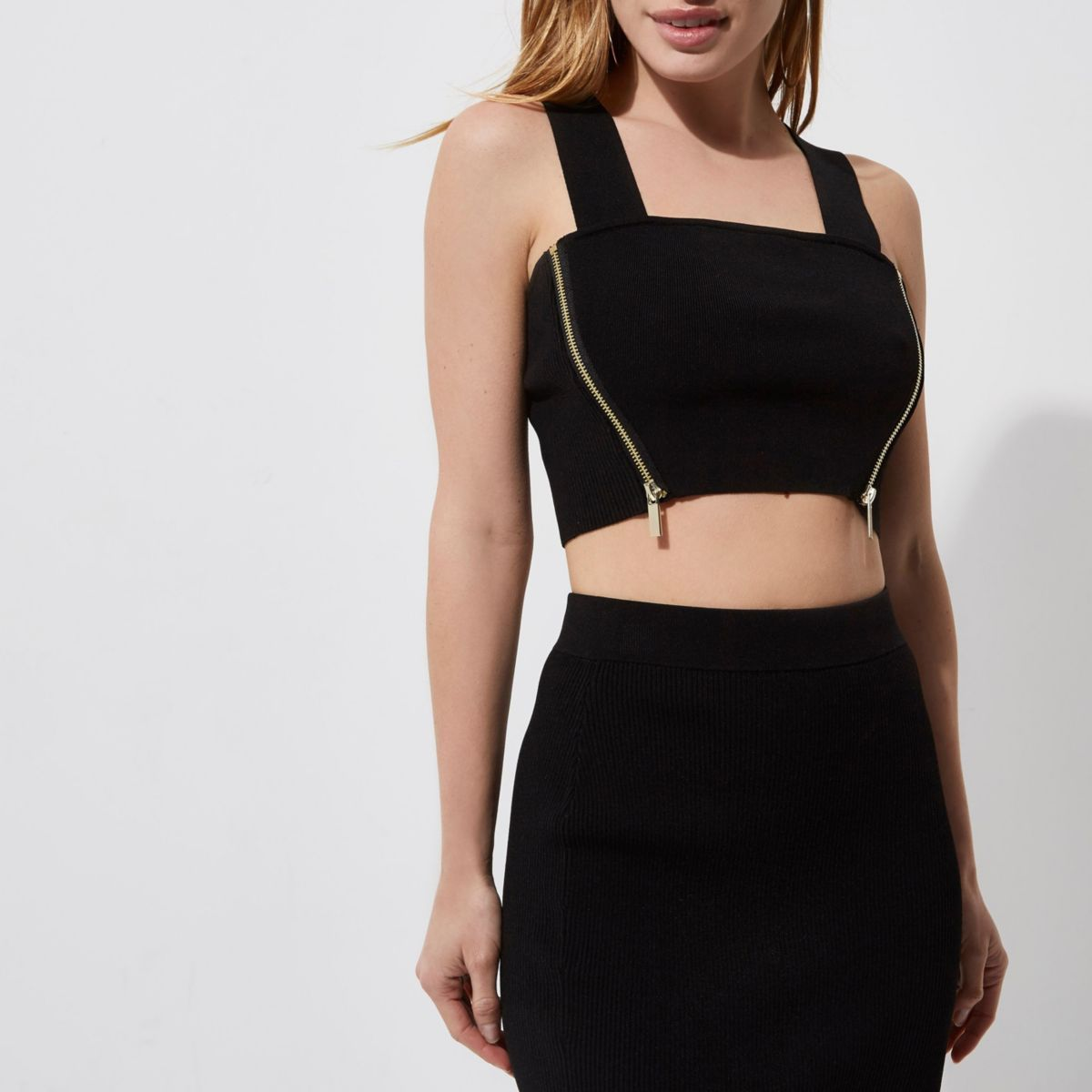 Petite black ribbed side zip knit crop top