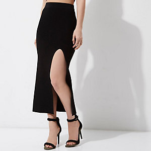 Petite black split front maxi bodycon skirt