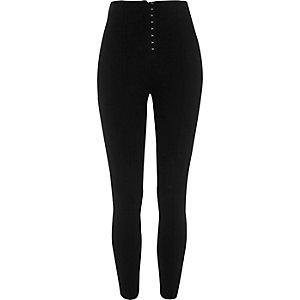 Zwarte legging met hoge taille en haak en oogsluiting