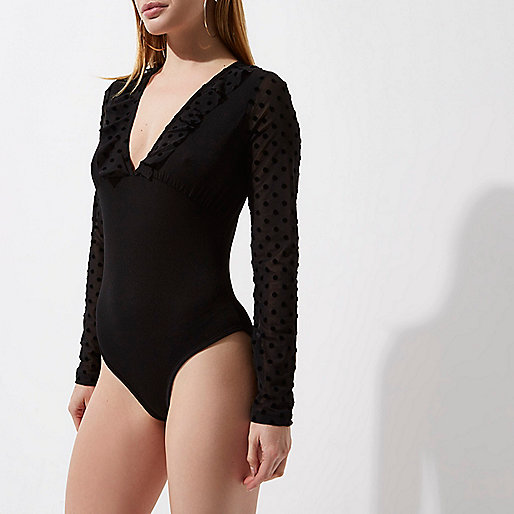 Petite black dobby mesh long sleeve bodysuit
