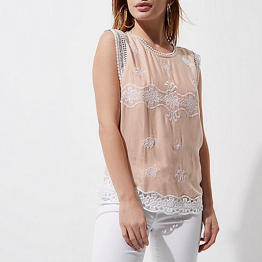 Petite light pink crochet trim shell top