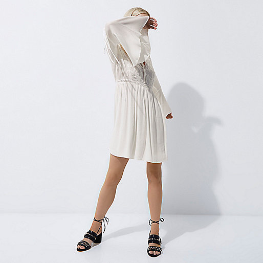 Petite cream embroidered smock dress