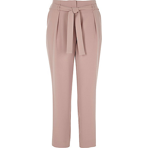 Pink tie waist tapered trousers