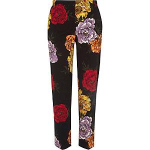 Zwarte cropped slim-fit broek met bloemenprint