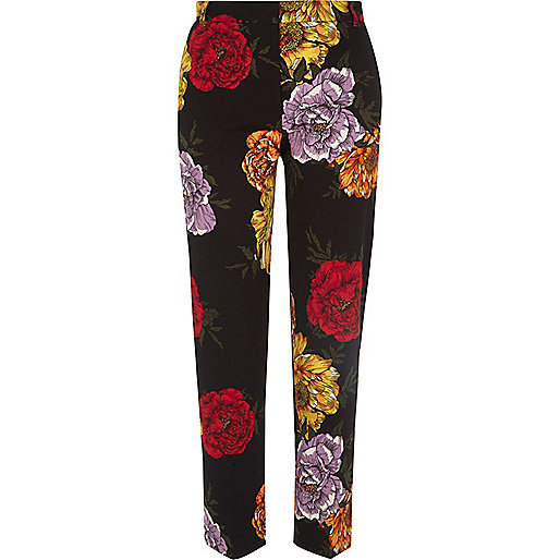 Black floral cropped slim fit trousers