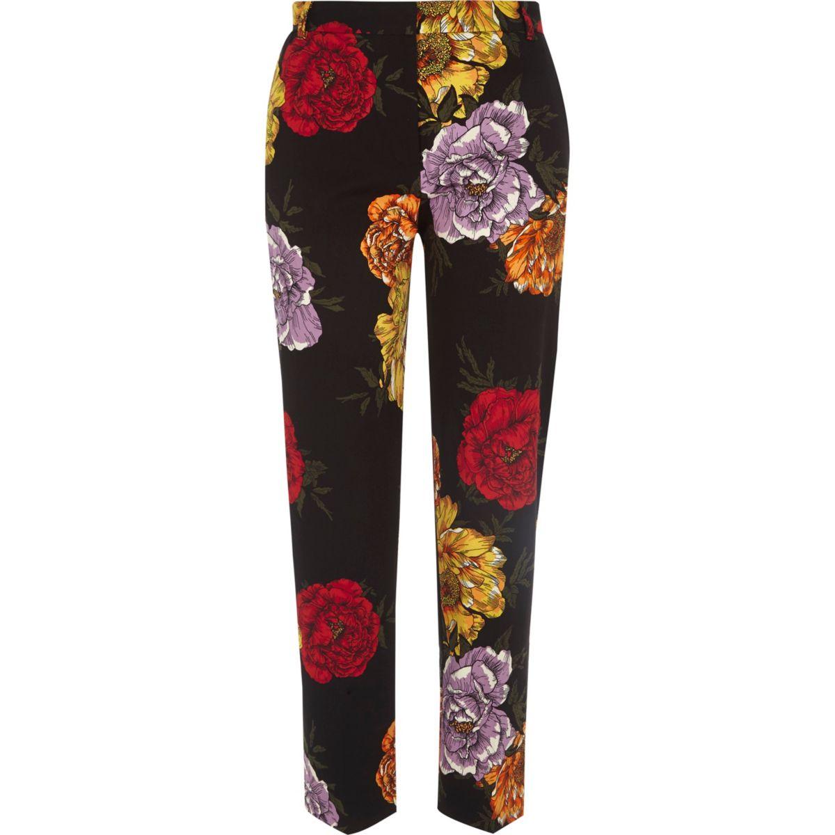 Pantalon court slim à fleurs noir habillé