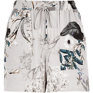 Grey floral tie waist shorts