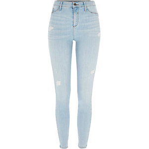Light blue ripped Molly skinny fit jeggings