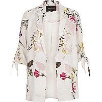 White floral print tie sleeve blazer