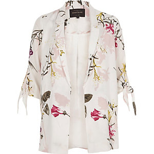 Weißer Blazer mit Blumendruck und gebundenen Ärmeln