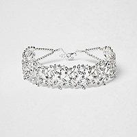 Silver tone diamante leaf choker