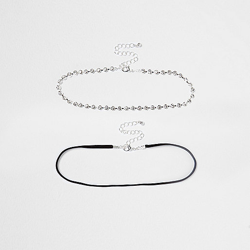 White diamante cup chain choker pack